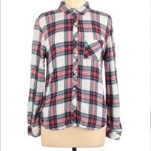Woman's BeachLunchLounge Button Down Flannel Top M